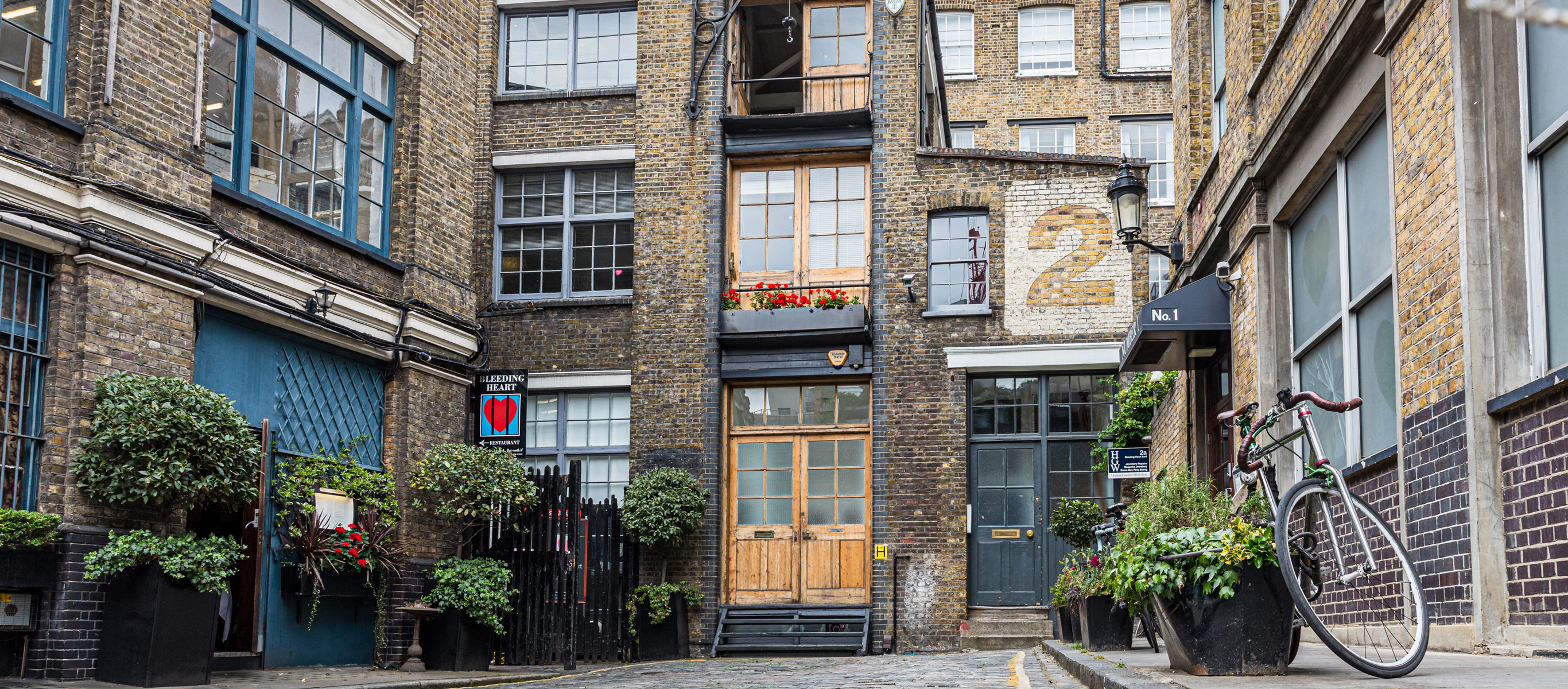Historic London office courtyard at 2 Bleeding Heart Yard